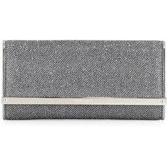 Jimmy Choo Milla Large Glitter Clutch Bag (1,490 BAM) ❤ liked on Polyvore featuring bags, handbags, clutches, medium gray, zipper handbag, glitter handbags, chain handbags, jimmy choo purses and zip purse