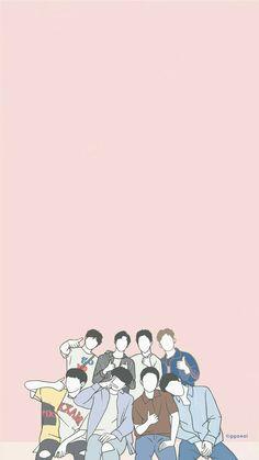 Baekhyun Wallpaper, Ikon Wallpaper, Cartoon Wallpaper, Exo Cartoon, Exo Anime, Cute Pastel Wallpaper, Exo Fan Art, Exo Lockscreen, Suho Exo