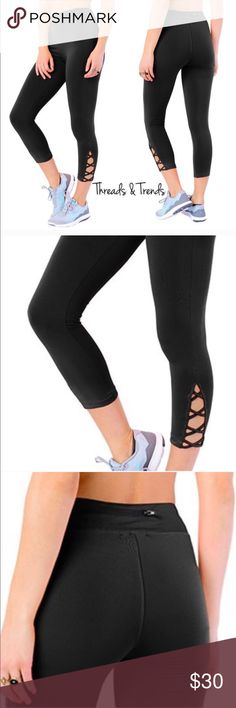 Capri Lattice Leggings Inspiration style from famous brand name Athleta. Now at a affordable price. Right on trend black Capri leggings with lattice detail. Zipper pocket on back waistband. Made of poly/spandex blend. Size S, M, L Threads & Trends Pants Capris