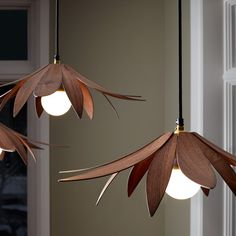The Lotus is an elegant, floral-inspired pendant light that appears almost weightless. The pared-back design makes use of the horizontal space, creating a flatter for. Unique Lighting, Lighting Design, Bathroom Pendant Lighting, Pendant Lamps, Flower Lamp, Boutique Deco, Wooden Lamp, Farmhouse Lighting, Home Design Decor