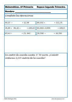 Recursos para el aula: Fichas de matemáticas para sexto de primaria 30 fichas con mas de 100 ejercicios de Matemáticas