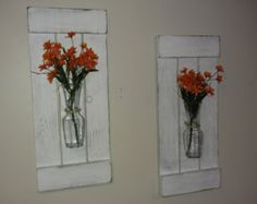 Large Rustic Sconces Shutters with Vase Rustic Shutters
