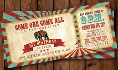 ***PLEASE READ THE ITEM DESCRIPTION***  *** Proofing time is 2 business days (M-F) from the date of your order ***  Kick off your circus-themed birthday party in style with this double-sided 9x4 inch printable birthday party invitation. This invitation includes #10 envelopes and can be customized with other colors or for another event as well! Print as many as you would like for one low price!  HOW IT WORKS ==============&#...