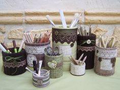 Bric à Nouille - Boites de conserve customisées tissus et dentelles