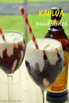 TESTED: Even with ice and milk instead of ice cream, this was really good! :) Kahlua Mudslides - A totally refreshing summer treat! Made with ice cream, chocolate syrup, Kahlua, vodka and Irish cream liqueur and served in a frosty glass! Fancy Drinks, Cocktail Drinks, Fall Cocktails, Refreshing Drinks, Yummy Drinks, Kahlua Drinks, Vanilla Vodka Drinks, Mix Drinks, Dessert Drinks