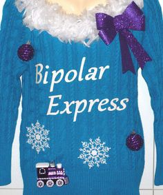 WOMENS FUNNY UGLY CHRISTMAS SWEATER - BIPOLAR EXPRESS - MEDIUM - NEW WITH TAGS #Handmade #ScoopNeck