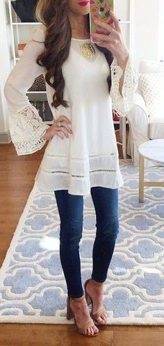 #spring   #summer   #outfitideas  | White Lace Tunic + Denim | Southern Curls & Pearls