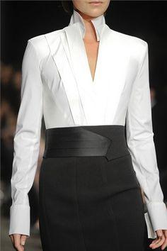 Donna Karan + architectural collar + sleek silhouette