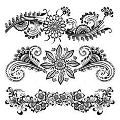 Black Henna Mehndi Large Floral Temporary Tattoos-Henna made simple! This set of temporary body tattoos is a fast and easy way to get that exotic henna look without all the fuss and mess. Henna Designs Paper, Henna Flower Designs, Arabic Henna Designs, Flower Henna, Doodle Art Designs, Henna Tattoo Designs, Mehndi Designs, Henna Tattoos, Mehndi Art