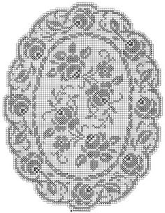 frame pattern (with something more interesting in the middle) Crochet Tablecloth Pattern, Crochet Doily Patterns, Thread Crochet, Cross Stitch Patterns, Crochet Home, Diy Crochet, Vintage Crochet, Filet Crochet Charts, Crochet Dollies