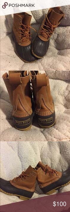 """Bean Boots Ready for fall? These are a staple item for every girl's closet. Perfect condition 8"""" tall Bean Boots! (My last name is on the tongue pictured in the last pic- not visible from the outside) L.L. Bean Shoes Winter & Rain Boots"""