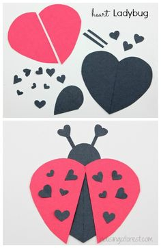 with hearts- avec des coeurs Lots of heart shape animal ideas ~ simple Valentine& Day crafts: - Valentine's Day Crafts For Kids, Daycare Crafts, Toddler Crafts, Preschool Crafts, Valentines For Kids, Valentine Day Crafts, Holiday Crafts, Ladybug Crafts, Ladybug Art