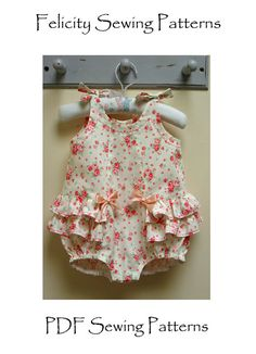 Romper Pattern, Rose Bud Romper pdf romper sewing pattern by Felicity Sewing Patterns, sizes 3 months to 3 years.