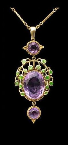 Jessie Marion King (1875–1949) | Liberty & Co Pendant, ca. 1900. Medium: Jewelry and Gemstones, Gold Enamel Amethyst.