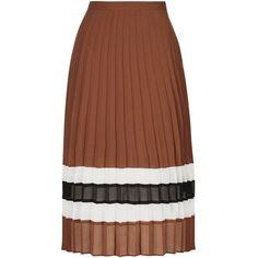 TopShop Stripe Hem Pleat Skirt (£55) ❤ liked on Polyvore featuring skirts, rust, full pleated skirt, brown pleated skirt, midi skirt, topshop и stripe skirt