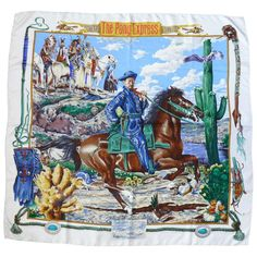 "Hermes Vintage 1993 ""The Pony Express"" Silk Twill Carré Scarf by Kermit Oliver…"