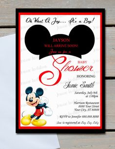 7 best mickey mouse baby shower images on pinterest mickey mouse mickey mouse baby shower invitations5x7printed baby shower filmwisefo