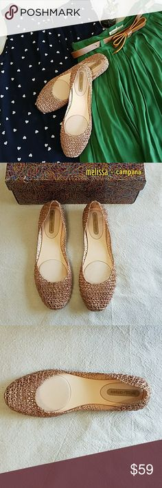 Melissa + Campana Papel VII Beige Glitter Flats NWT Melissa + Campana Papel VII Beige Glitter Flats. Gorgeous flats, will dress up any outfit. Fruity smell. Comes with box. Never been worn. Size 9. Color says beige but they have a rose tone to them. Pictures reflect true color.Feel free to ask any questions before purchase. Bundle & Save. Offers welcome. Melissa + Campana Shoes