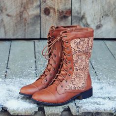 The Harper Lace Boots - I wear almost no brown, but still think these are adorable.
