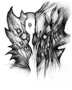 Carbón de leña boceto en papel