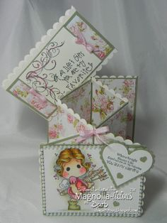 I have propped the belly band over the back of the card.  I used SU Scalloped Edge punch as well as some SB Heart dies.