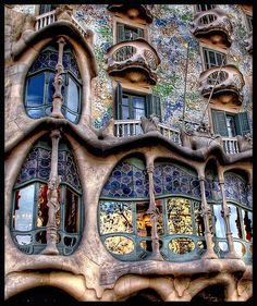 Casa Batllo in Barcelona, Spain was built by Antoni Gaudí between 1904-06 having been commissioned by the textile industrialist Josep Batlló.  Now the collection of buildings surrounding the Casa Battlo is home to a collection of works by the most renowned architects.