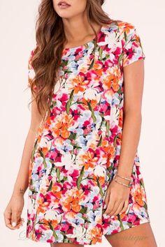 e0676c65f3 Peach Love Floral Dress - Orange Magenta Olive