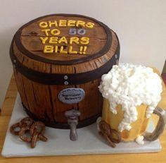 Beer Keg and Mug Birthday cake.. #beerkeg