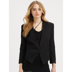 Helmut Lang Smoking Wool Tux Blazer featuring polyvore fashion clothing outerwear jackets blazers apparel & accessories black 3/4 sleeve black blazer black tuxedo blazer black wool jacket wool blazer black cropped jacket