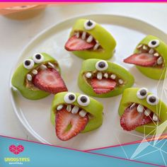 Apple and strawberry monsters - picture only