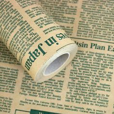 """10M Roll Wrapping Paper News Article Pattern English Green 20.8"""" x (L) 32.8ft…"""