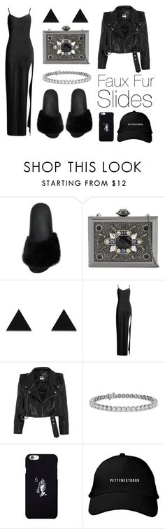 """""""How to style: faux fur slides?"""" by eva-jez ❤ liked on Polyvore featuring Givenchy, ALDO, Wolf & Moon, Boohoo, Vetements, Blue Nile and October's Very Own"""
