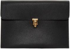 ALEXANDER MCQUEEN Black Skull Envelope Clutch. #alexandermcqueen #bags #leather #clutch #lining #crystal #hand bags #