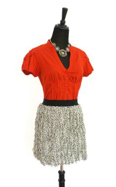 """New With Tags """"DKNY"""" Polka Dot Ruffle Mini Skirt is for sale in my #Threadflip closet! Originally $245 available for $55.  Paired with 'Edme & Esyllte' Poppy Red Buttoned Top also for sale in my closet! Shop here --> www.threadflip.com/Caro #shopmycloset #Anthropologie #DKNY"""
