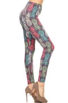Leggings Depot REG/PLUS Women's Best Christmas Holiday Printed Leggings (One Size (Size Pineapple Chalkart) Basic Leggings, Knit Leggings, Printed Leggings, Leggings Depot, Pineapple Print, Basic Tops, Leggings Fashion, Fashion Prints, Fashion Outfits
