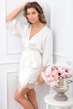 Alya Robe Blush Lace Trim