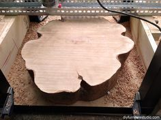 router jig flattened wood tree stump