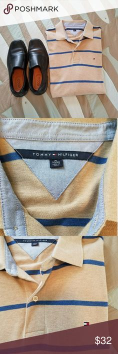 Tommy Hilfiger striped classic polo shirt Like new Tommy Hilfiger men's khaki and blue striped long sleeve polo shirt, with two button top, Polo is like new and size extra large/tall. Tommy Hilfiger Shirts Polos