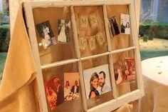 window frame with family wedding photos & burlap Mr. Wedding Signs, Our Wedding, Dream Wedding, Wedding Ideas, Wedding Inspiration, Open House Parties, House Party, Garland Wedding, Wedding Decorations