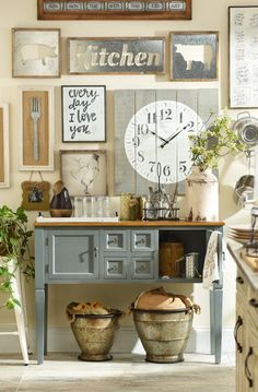 Add a little rustic, country charm to your kitchen, and you will feel like you are a little girl back at your grandma's house making apple pie! Kirkland's Farmhouse Collection has everything from wall plaques to mason jars to baskets that are full of down-home style.