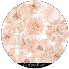GrabYourDesign - 6 Round Coasters Rose gold feathers  - by UtArt