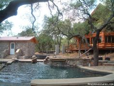 The Avonne and the poolscape - The Avonne Log Cabin - The Great Escape! - hill country: burnet texas vacation rentals burnet