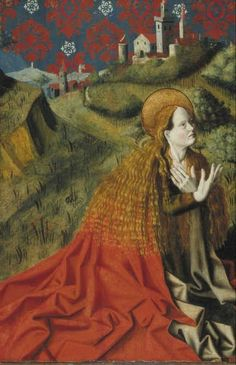 Mary Magdalene, Barthélémy d' Eyck - Museum Boijmans Van Beuningen Medieval Paintings, Renaissance Paintings, Renaissance Art, Santa Maria Magdalena, Noli Me Tangere, Alchemy Art, Sacred Feminine, Divine Feminine, Christian Religions