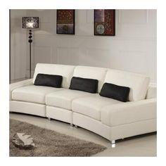Global Furniture White Leather Sofa,