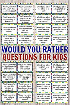 would you rather questions for kids ~ would you rather questions for kids . would you rather questions for kids fun . would you rather questions for kids hard . would you rather questions for kids free . would you rather questions for kids fall Learning Activities, Toddler Activities, Kids Learning, Activities For 6 Year Olds, Toddler Activity Board, Rainy Day Activities For Kids, Circle Time Activities, Road Trip Activities, High School Activities