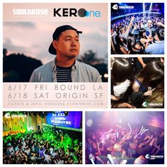 "Come party right - Soul Krush coming thru feat. KERO ONE Live - 6/17 FRI @ Bound LA + 6/18 SAT @ Origin SF! Last chance for free b4 1030 rsvp here: www.keroone.eventbrite.com . VIP/Table Reservations call/text 1-669-238-1801 Kakao & Wechat ""SOULKRUSH"" #soulkrush #la #sf"