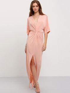 Light Pink Half Sleeve Knot Split Maxi Dress $12.99