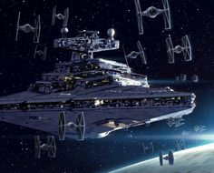 Star Destroyer and TIE Fighters