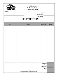 this construction receipt can be used by a carpenter brick mason roofer or any other contractor free to download and print