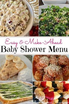 Baby Shower Menu. Complete make-ahead, easy, budget-friendly, stress-free Baby Shower menu complete with recipes and food. #brunchmenu #babyshowermenu Baby Shower Lunch, Baby Shower Food Menu, Baby Shower Appetizers, Bridal Shower Menu, Best Appetizers, Baby Shower Recipes, Brunch Recipes, Breakfast Recipes, Easy Recipes